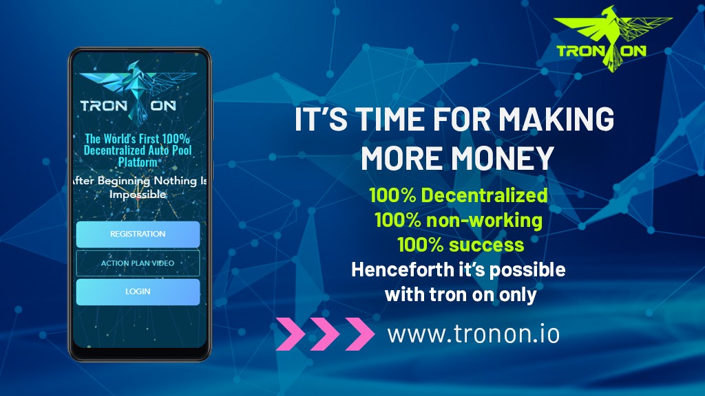 TronOn is the world's best decentralized and Staking Auto Pool program logo