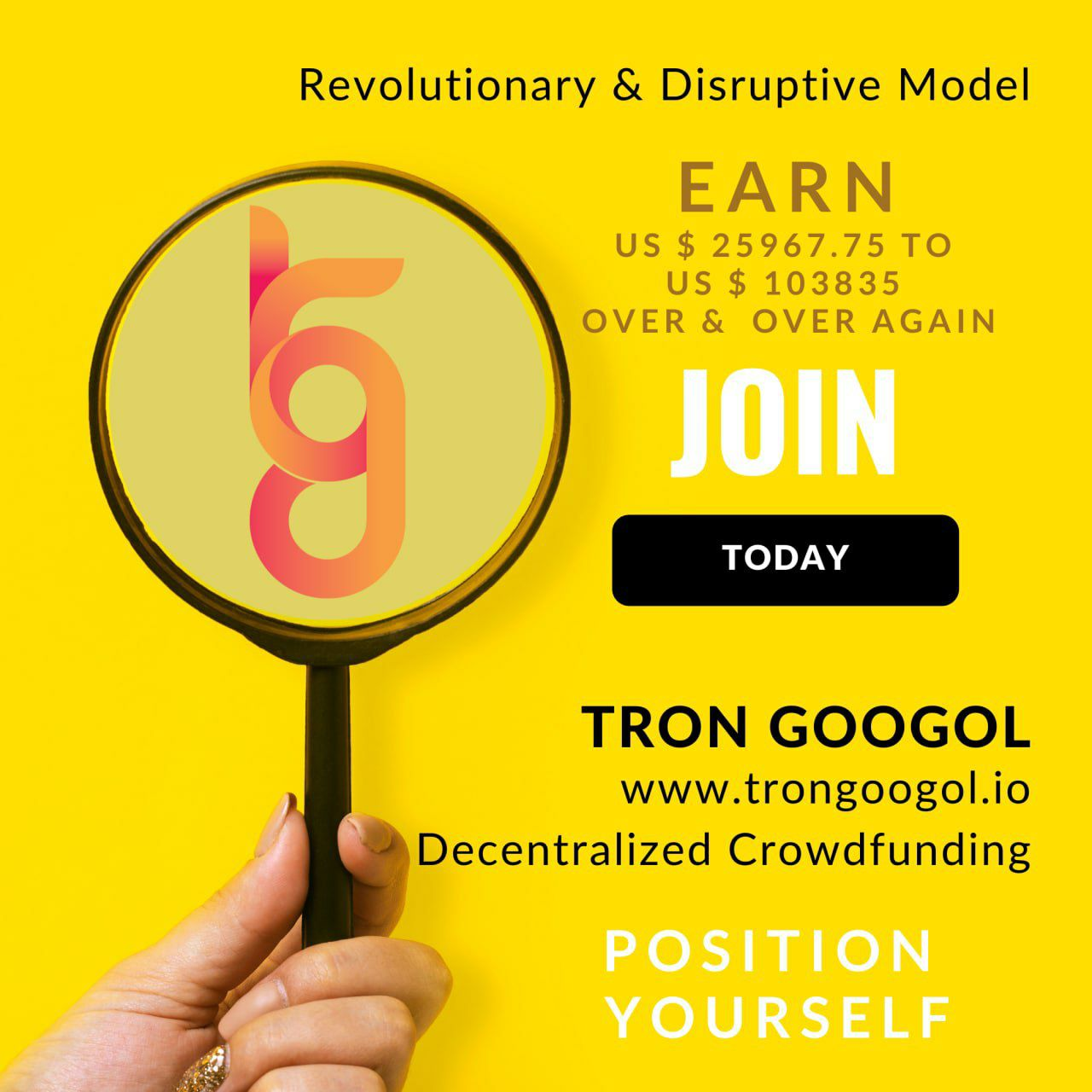 $25 turns into $25000 Earn at Home from Tron Googol logo